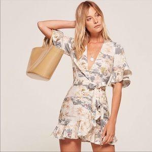 Reformation Kelsey Linen Wrap  🏖 Mini Dress XS